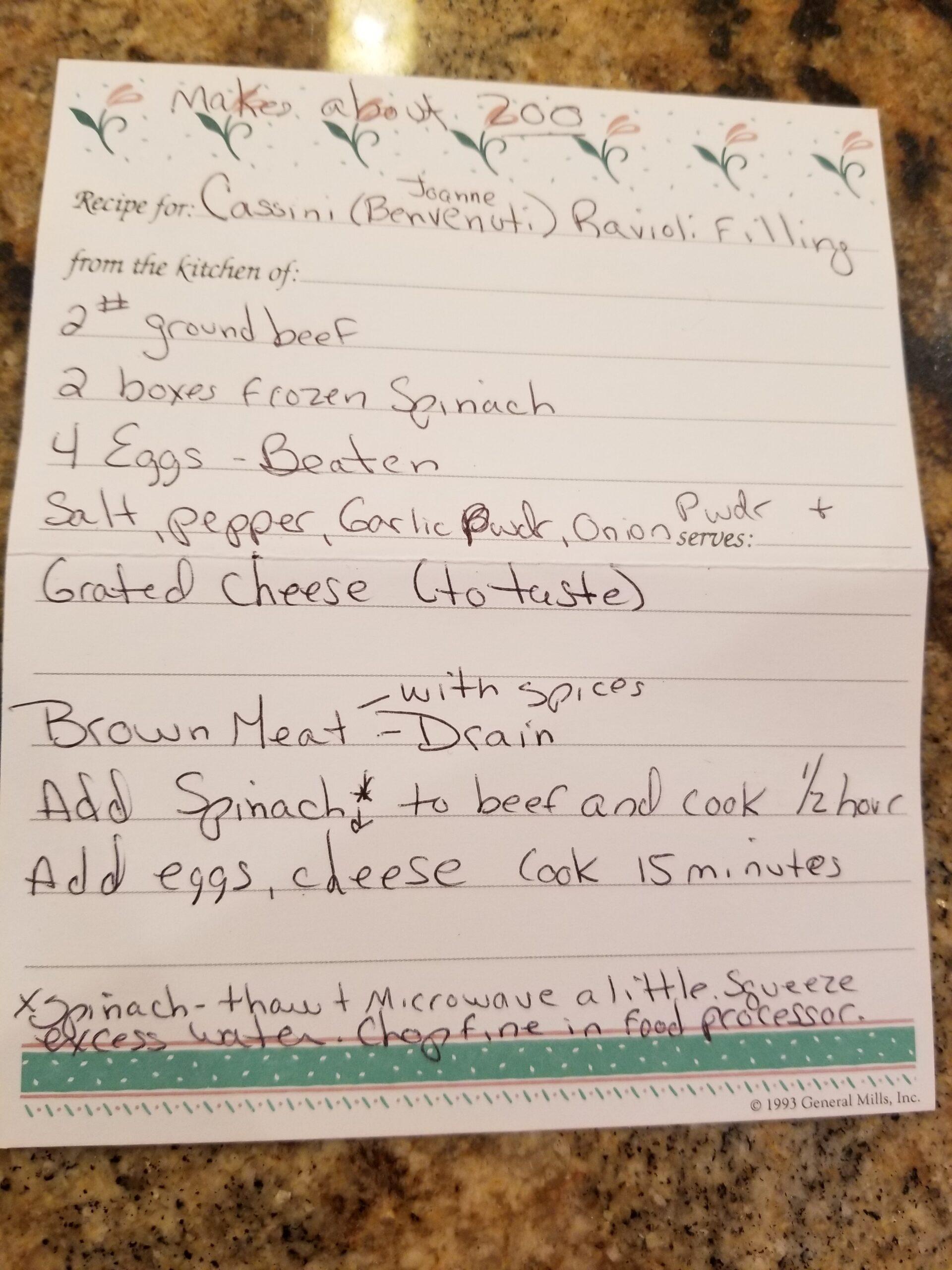 Casani filling recipe