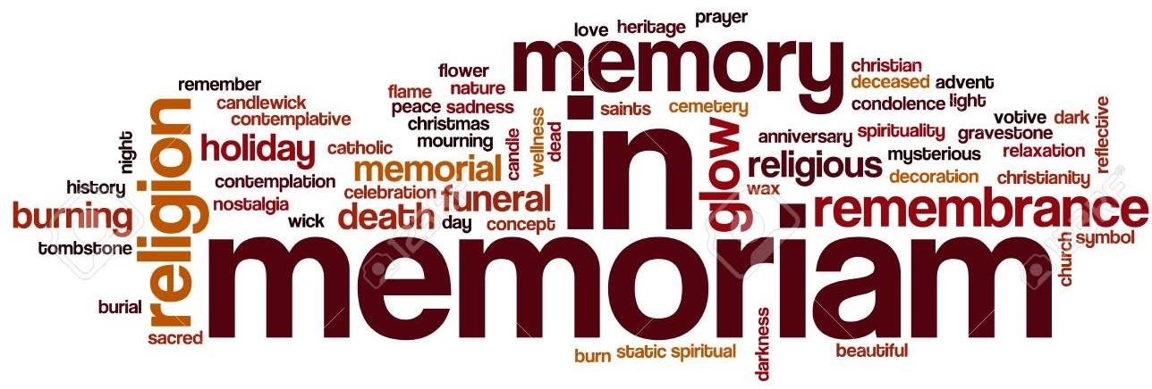 In memoriam word cloud concept